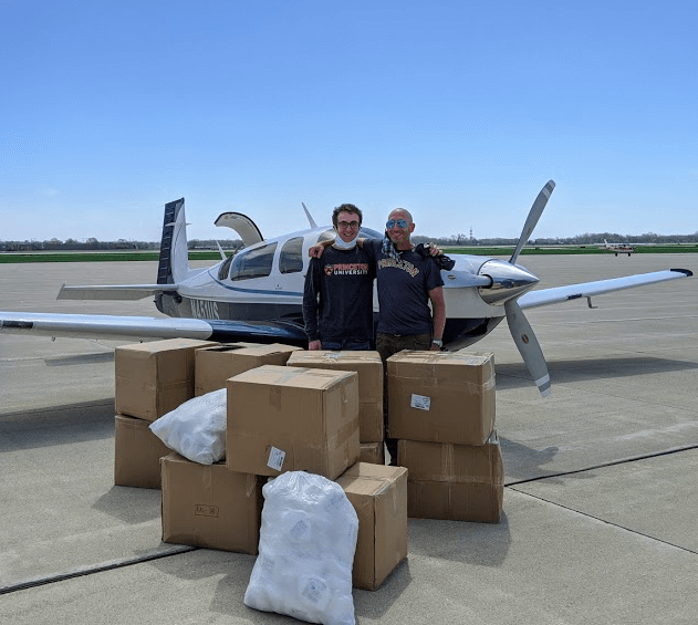 Plane delivery with 2 volunteers
