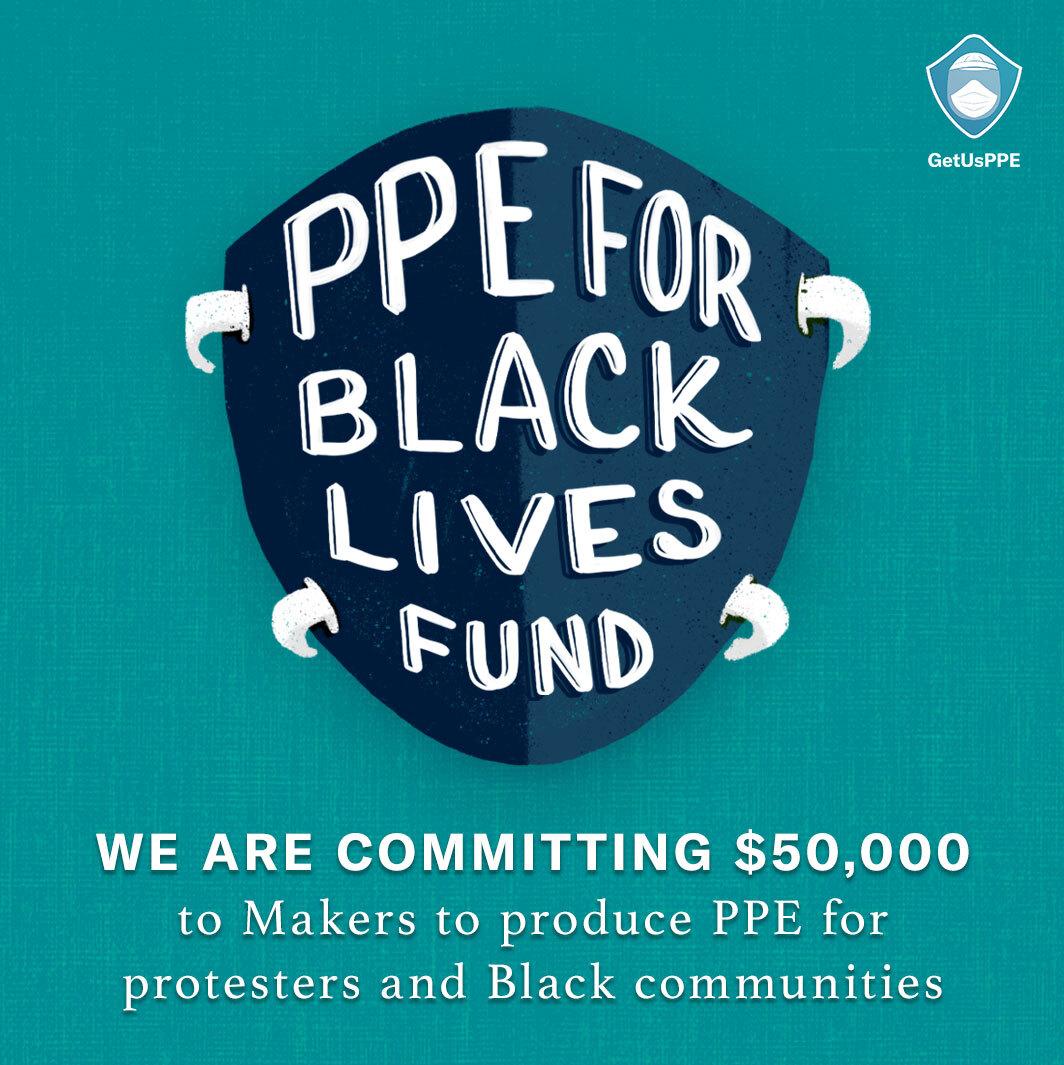 Manifestantes Black Lives Matter con máscaras protectoras, PPE for Black Lives Fund