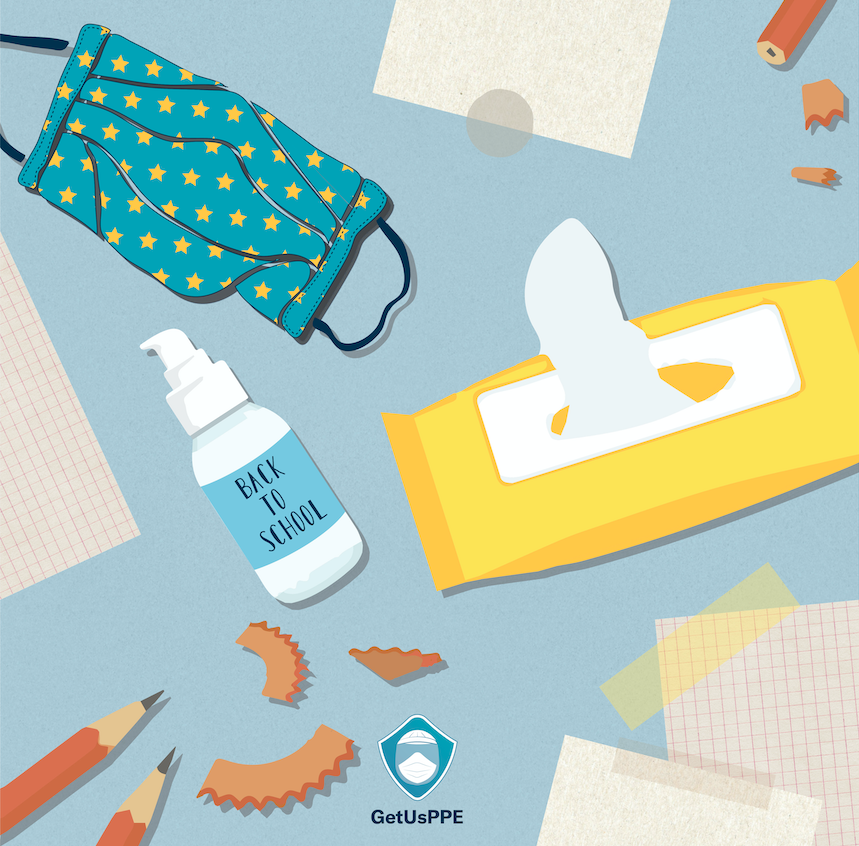 Back to school illustration of PPE for schools, masks, hand sanitizer, wipes