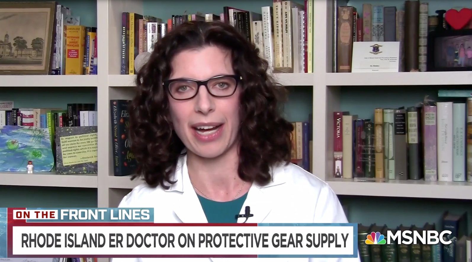 A screenshot of Dr. Megan Ranney on MSNBC discussing the personal protective equipment shortage
