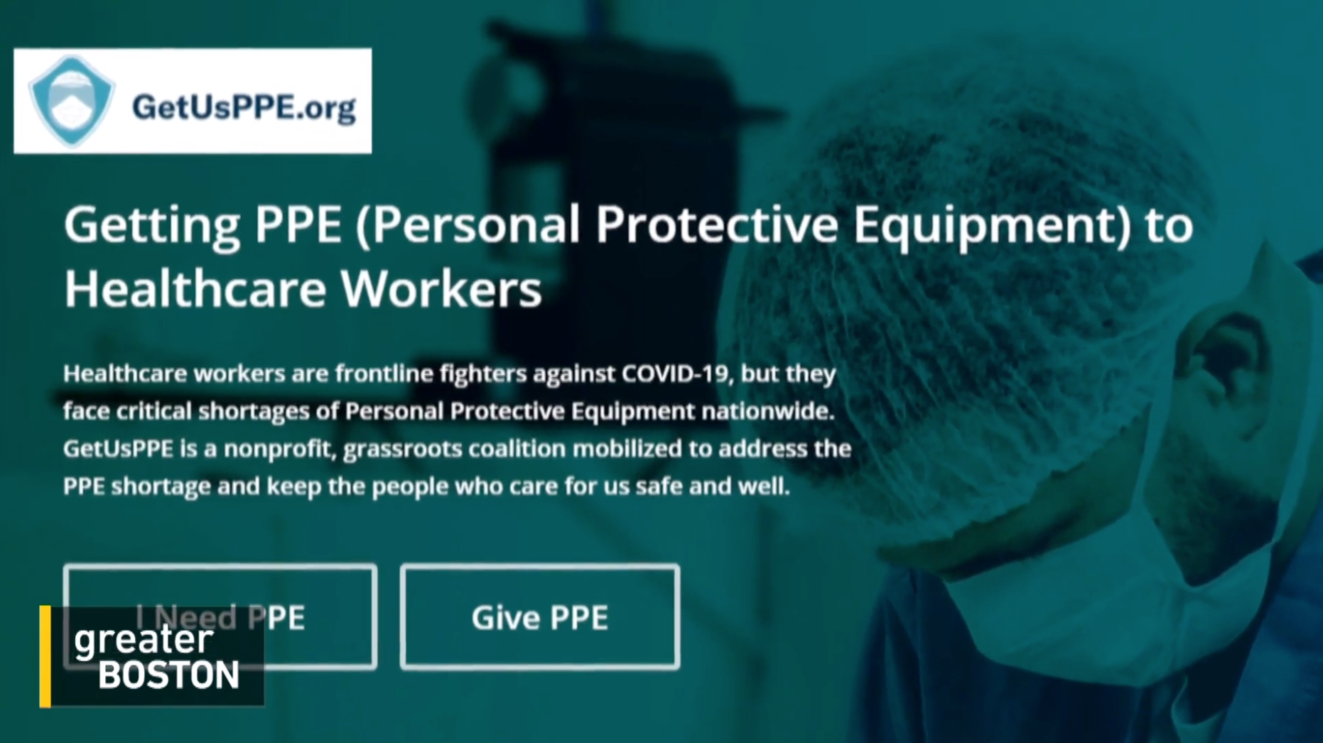 A screenshot of the Get Us PPE website home page