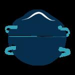 Ilustración de respirador con máscara filtrante (respirador N95)