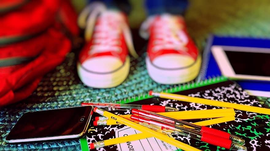 pencils, notebooks, sneakers, tablet, backpack, school supplies