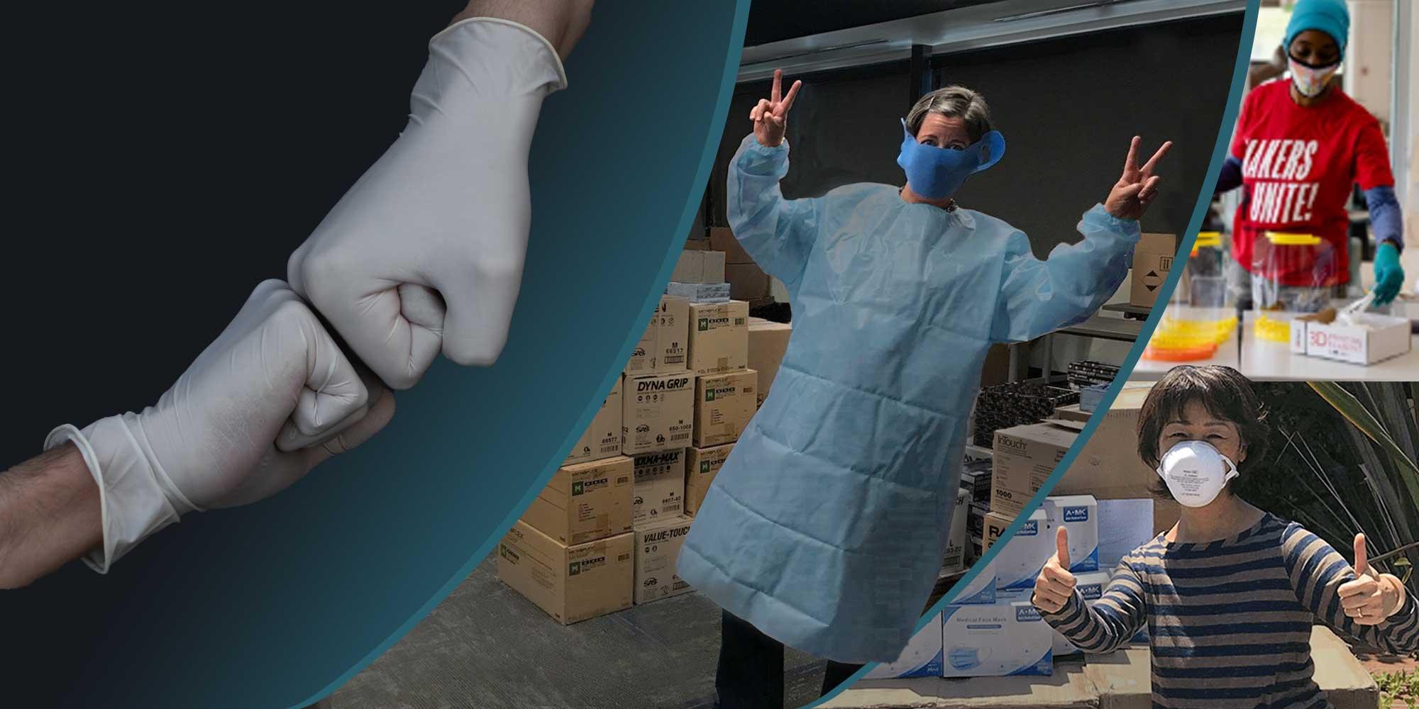 Get Us PPE collage de personas que reciben equipo de protección personal donado