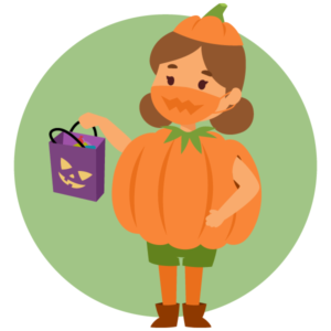 Child wearing mask and costume on Halloween