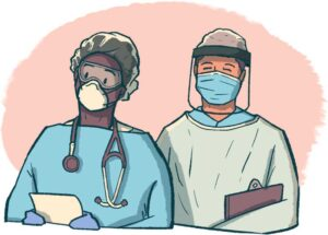 healthcare workers with N95 mask and surgical mask with faceshield, illustration by Garrett Gerberding