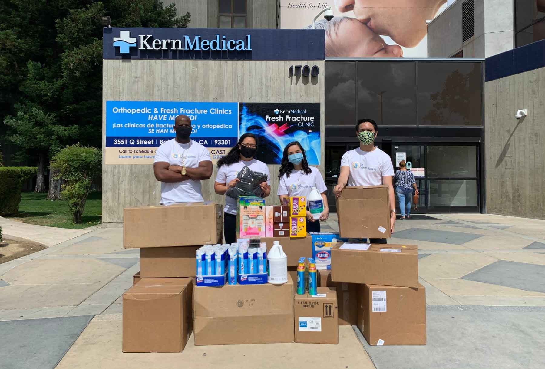 Volunteers receive a delivery at Kern Medical Center near Los Angeles.
