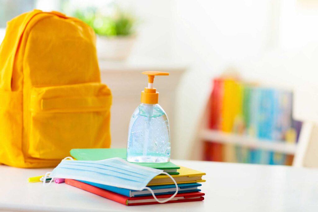 school PPE hand sanitizer, mask, backpack