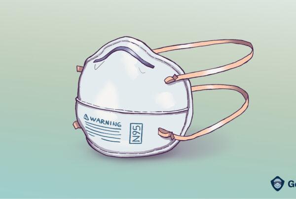 Ilustración de la máscara N95 sobre la desconexión de la oferta y la demanda