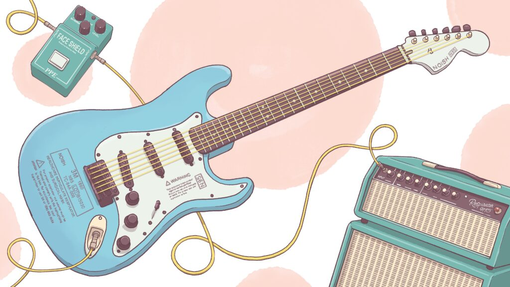 Illustration of electric guitar, pedal, and amp