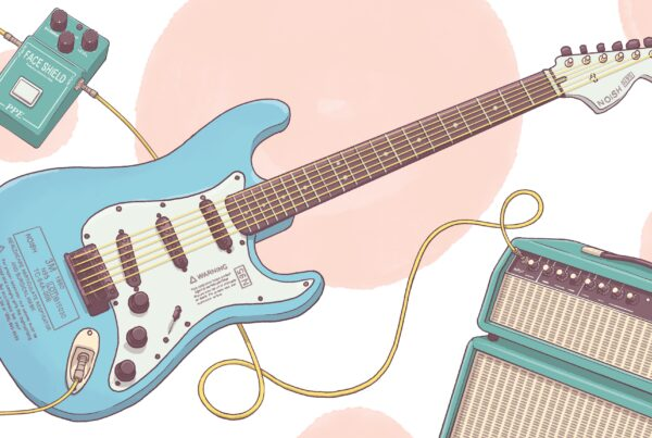 Illustration of electric guitar, pedal, and amp.